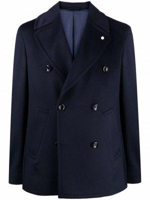 Двубортный пиджак строгого кроя LUIGI BIANCHI MANTOVA. Цвет: синий