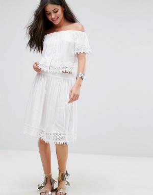Пляжная юбка от комплекта с вышивкой Anmol. Цвет: белый