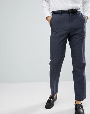 Темно-синие строгие брюки классического кроя в клетку Burton Menswear. Цвет: темно-синий