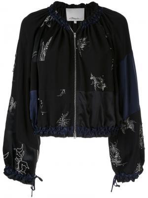 Куртка-бомбер в технике пэчворк с декором 3.1 Phillip Lim. Цвет: черный