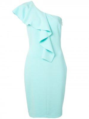 Платье асимметричного кроя с оборками Black Halo. Цвет: синий