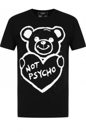 Хлопковая футболка с принтом DOMREBEL. Цвет: чёрно-белый