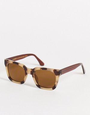 Квадратные солнцезащитные очки унисекс в стиле 70-х кремовой черепаховой оправе Nancy-Белый A.Kjaerbede