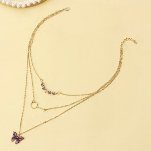 Многослойное ожерелье с бабочкой SHEIN. Цвет: золотистый