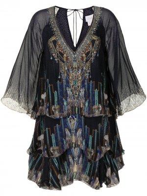 Layered frill mini dress Camilla. Цвет: черный