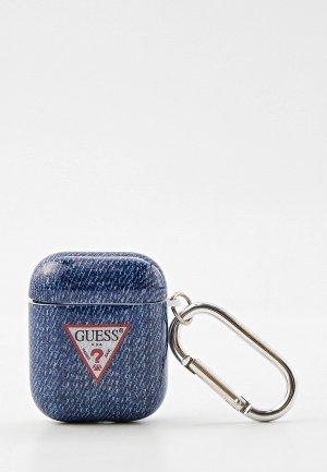 Чехол для наушников Guess Airpods TPU case with ring Denim Dark Blue. Цвет: синий