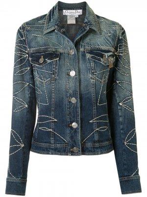 Джинсовая куртка pre-owned с декоративной строчкой Christian Dior. Цвет: синий