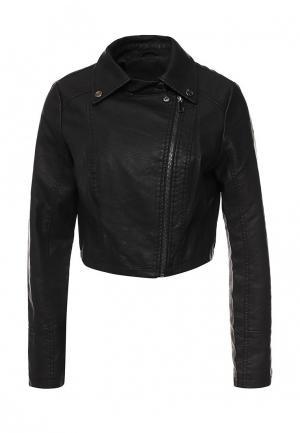Куртка кожаная Adrixx. Цвет: черный