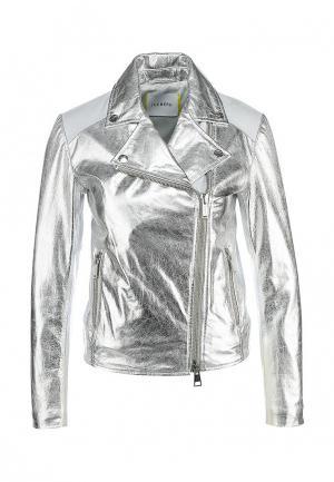 Куртка кожаная Iceberg. Цвет: серебряный