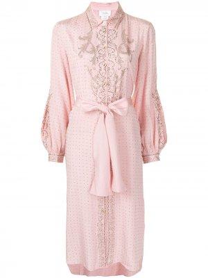 Платье с кристаллами и завязками Camilla. Цвет: розовый