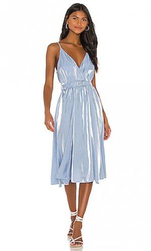 Платье миди cyrus Song of Style. Цвет: baby blue,metallics