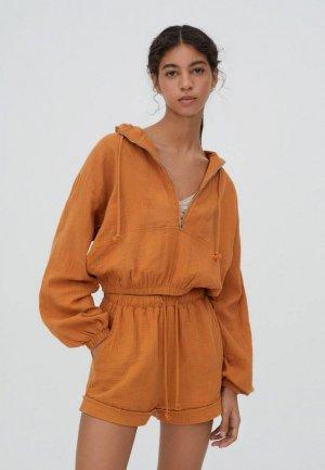 Ветровка Pull&Bear. Цвет: оранжевый