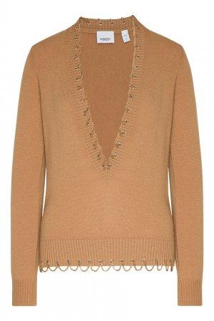 Кашемировый пуловер с отделкой Burberry. Цвет: коричневый