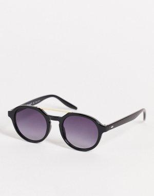 Черные круглые солнцезащитные очки-авиаторы в стиле унисекс -Черный цвет AJ Morgan