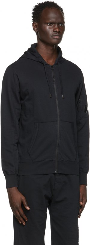 Black Garment-Dyed Zip Hoodie C.P. Company. Цвет: 999 black