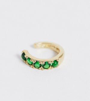 Кафф из позолоченного серебра с зелеными камнями -Золотой ASOS DESIGN