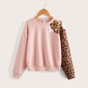 Для девочек Пуловер с леопардовым принтом SHEIN. Цвет: нежний розовый