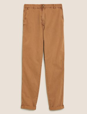 Хлопковые брюки чинос M&S Collection. Цвет: пралине