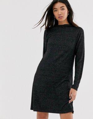 Трикотажное платье мини с длинными рукавами -Серый Only