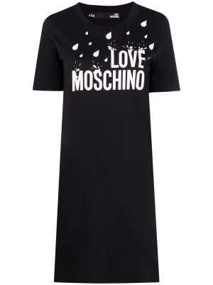 Платье из джерси с принтом Love Moschino. Цвет: черный