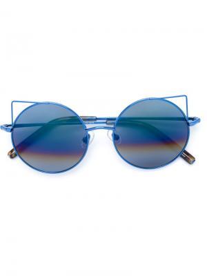 Солнцезащитные очки в круглой оправе Matthew Williamson. Цвет: синий