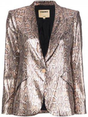 LAgence блейзер с леопардовым принтом и пайетками L'Agence. Цвет: коричневый