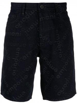 Джинсовые шорты с монограммой Emporio Armani. Цвет: синий