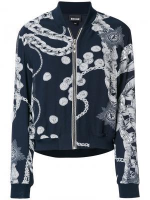 Куртка-бомбер с принтом цепочек Just Cavalli. Цвет: синий