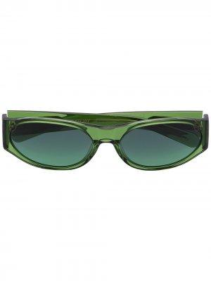 Солнцезащитные очки Eddie Kyu в круглой оправе FLATLIST. Цвет: зеленый