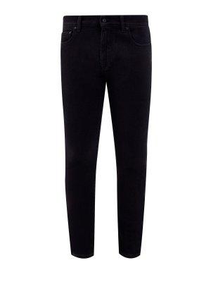 Черные джинсы-slim с контрастным диагональным принтом OFF-WHITE. Цвет: черный