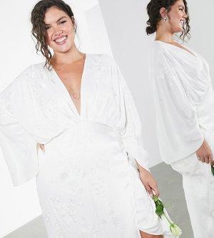 Атласное свадебное платье-кимоно с вышивкой Curve-Белый ASOS EDITION