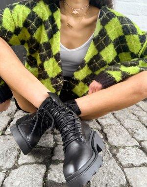 Черные ботильоны на среднем каблуке и шнуровке Madness-Черный Ash