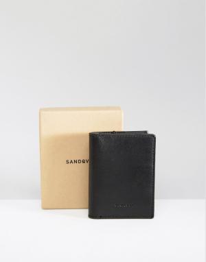 Черный кожаный бумажник Dow Sandqvist. Цвет: черный