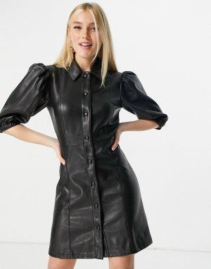 Черное платье мини из искусственной кожи с объемными рукавами -Черный Lipsy