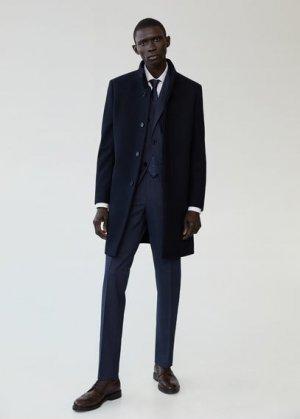 Пальто с шерстью Tailored - Funnel-i Mango. Цвет: темно-синий