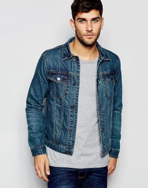 Джинсовая куртка Abercrombie & Fitch. Цвет: слегка выбеленная тк