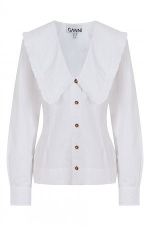 Белая хлопковая блузка с V-образным вырезом Ganni. Цвет: белый