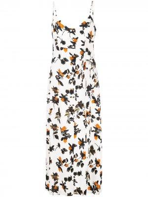 Платье на бретелях с цветочным принтом Derek Lam. Цвет: белый