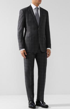 Шерстяной костюм с пиджаком на двух пуговицах Giorgio Armani. Цвет: серый