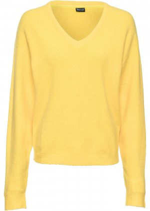 Пуловер в стиле оверсайз bonprix. Цвет: желтый