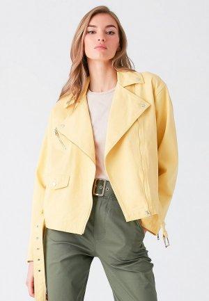 Куртка джинсовая Love Republic. Цвет: желтый