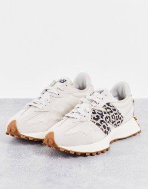 Светлые кроссовки с леопардовым принтом 327 – эксклюзивно для ASOS-Светло-бежевый цвет New Balance