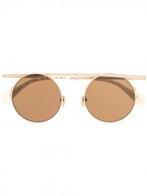 Солнцезащитные очки с верхней планкой Yohji Yamamoto. Цвет: золотистый