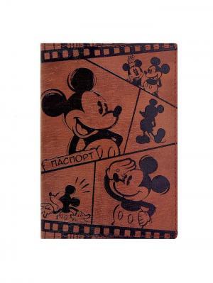 Обложка для паспорта, Микки Маус Disney. Цвет: черный, коричневый