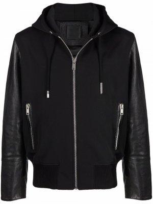 Куртка с капюшоном и вставками Givenchy. Цвет: черный