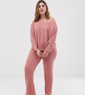 Трикотажные расклешенные брюки в рубчик ASOS DESIGN Curve-Розовый Curve