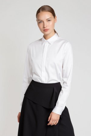 Классическая блузка из хлопка VASSA&Co. Цвет: белый