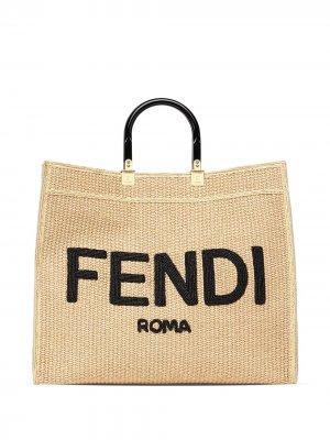 Большая сумка-тоут Sunshine Fendi. Цвет: нейтральные цвета