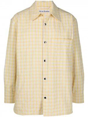 Клетчатая куртка-рубашка с накладным карманом Acne Studios. Цвет: желтый