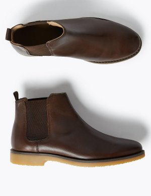 Детские кожаные ботинки челси с отделкой Freshfeet ™ Marks & Spencer. Цвет: коричневый